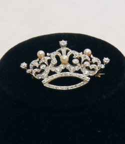 Antique Platinum, Diamond & Pearl Crown Pin