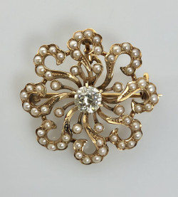 Antique Etruscan Cut Diamond and Seed Pearl Starburst Pin