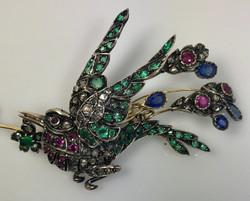 Emerald, Ruby, Sapphire and Diamond Brooch