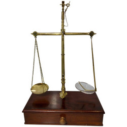 Antique English Mahogany and Brass Apothecary Scale Signed R. Avery Company, London, Circa 1880.