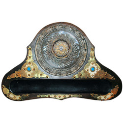 Antique English Coromandel Inkwell Set with Persian Turquoise, Ivory & Brass Mounts
