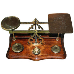 Antique English Brass & Walnut Postal Scale, circa 1880