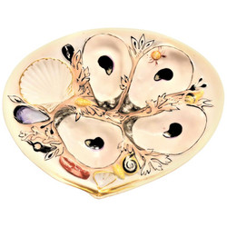"Antique American Hand-Painted Oyster Plate signed ""Union Porcelain Works,"" Circa 1880."