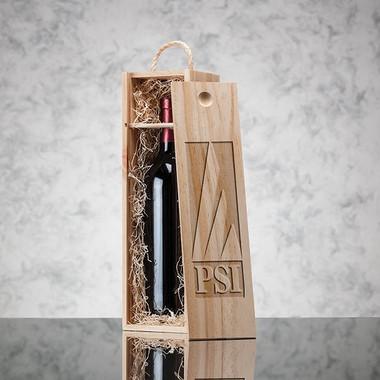 Coffret en bois pour 1 bouteille de vin couvercle coulissant #2512