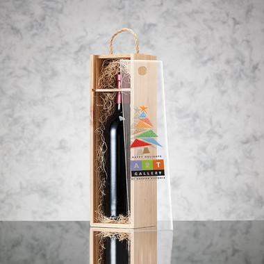 Coffret en bois pour 1 bouteille de vin couvercle coulissant transparant #2513