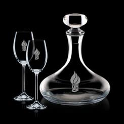 Decanteur en cristal  Stratford avec Bouchon et 2 Verres #1342