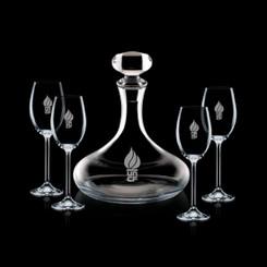 Decanteur en cristal  Stratford avec Bouchon et 4 Verres #1343