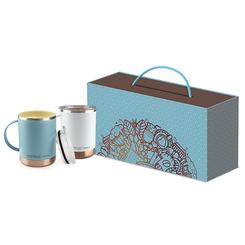 Ensemble de 2 tasses dans une boite cadeau, personnalisée avec votre logo  #5681