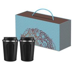 Ensemble de 2 tasses dans une boite cadeau, personnalisée avec votre logo  #5682
