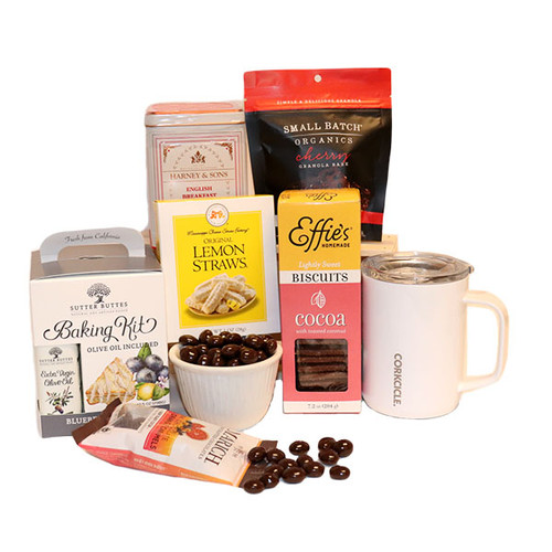 Tea with sweet and savory treats.