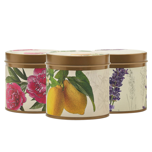 Trio of Candles. Apricot Rose, Lavender and Lemon Lychee scented.