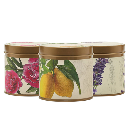 Apricot Rose, Lavender and Lemon Lychee botanical candles.