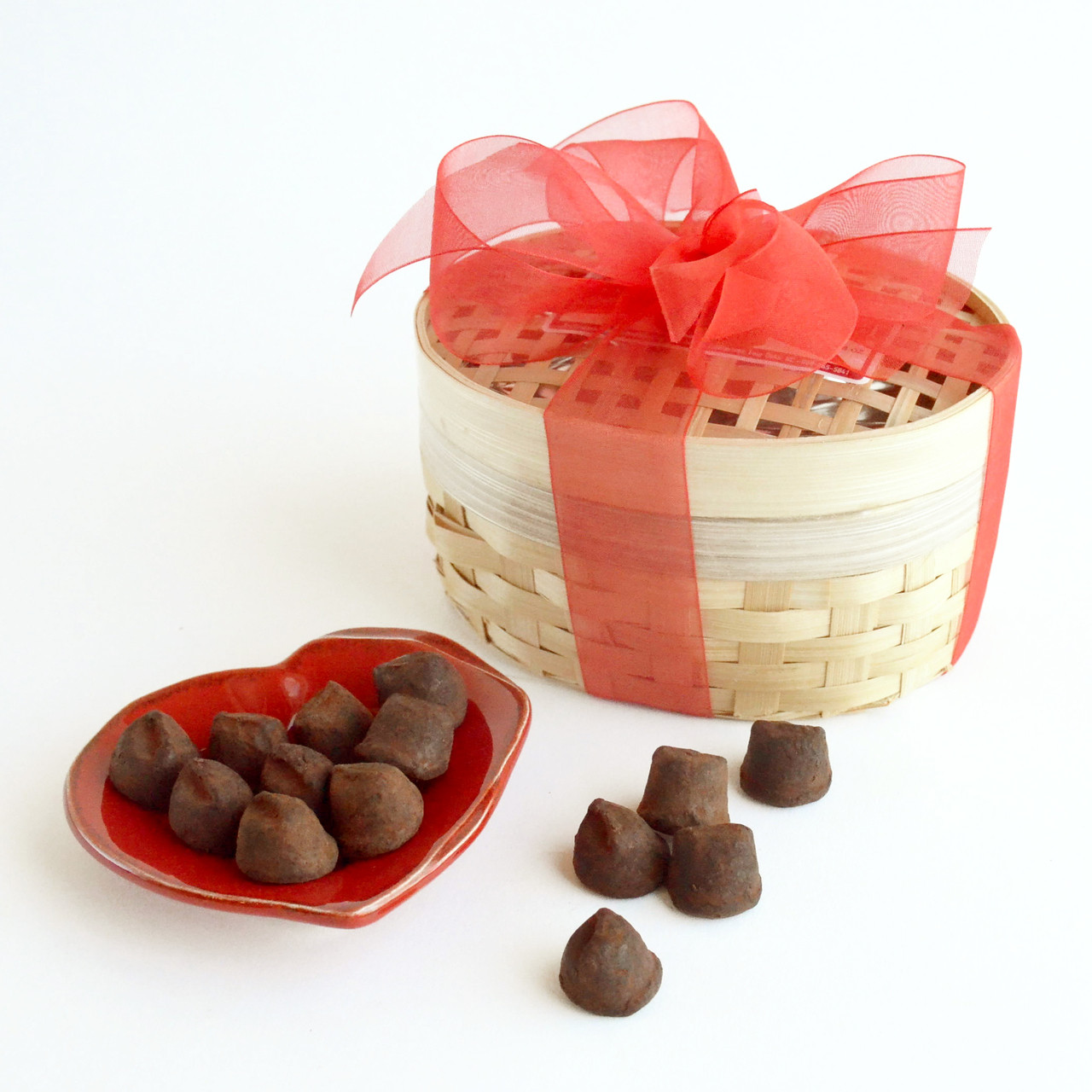 Home; Chocolate Truffles in Basket. Image 1