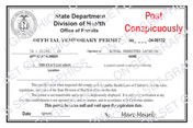 State Department Health Permit