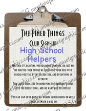 High School Club Sign Up