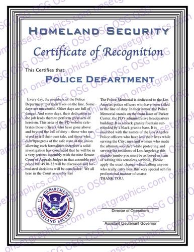 Homeland Security Recognition Award
