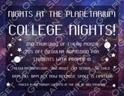 College Nights and the Planetarium