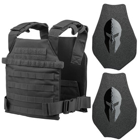 Spartan Armor Systems Sentry Plate Carrier with Swimmer Cut AR500 Omega™ Body Armor in Black