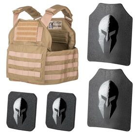 Special Spartan Armor Package. Plate carrier with 10x12 front, back and 6x6 side plates.