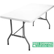 Advantage 6 ft. Rectangular White Plastic Folding Table [ADV3072-WHITE]