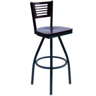 BFM Seating Espy Metal Slotted Wood Back Swivel Bar Stool with Wood Seat [2151SW-SB-BFMS]