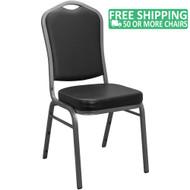Advantage Black Crown Back Vinyl Banquet Chair [CBBC-V-123]