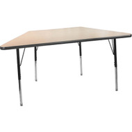 Advantage 30 in. x 60 in. Trapezoidal Adjustable Activity Table - Maple/Black [AT3060TRAP-MB]
