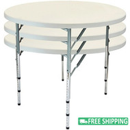10-pack Advantage 5 ft. Round Plastic Folding Tables [FTD60R-ADJ-10]