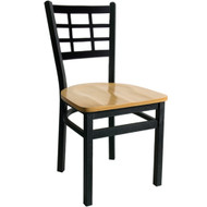 BFM Seating Marietta Black Metal Window Pane Back Restaurant Chair with Wood Seat [2163C-SBW]