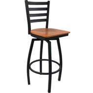 Advantage Ladder Back Metal Swivel Bar Stool - Cherry Wood Seat [SBLB-BFCW]