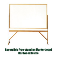 Ghent 3'x4' Reversible Free Standing Whiteboard - Hardwood Frame [RMM34]