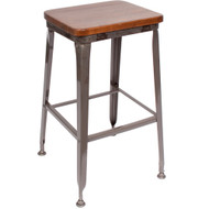 BFM Seating Lincoln Industrial Backless Bar Stool with Wood Seat [JS200BASH-CL-BFMS]