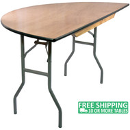 Advantage 5 ft. Half Round Wood Folding Banquet Table [FTPW-60HR]