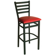 BFM Seating Lima Black Metal Ladder Back Bar Stool with Vinyl Seat [2160B-SBV]
