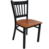 Advantage Black Metal Vertical Slat Back Chair - Cherry Wood Seat [RCVB-BFCW]