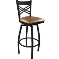 Advantage Cross Back Metal Swivel Bar Stool - Beige Padded [SBXB-BFBGV]