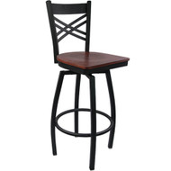 Advantage Cross Back Metal Swivel Bar Stool - Mahogany Wood Seat [SBXB-BFMW]