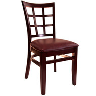 BFM Seating Pennington Mahogany Window Pane Chair with Vinyl Seat [WC629MH-X-BFMS]