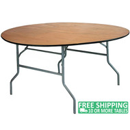 Advantage 66 in. Round Wood Folding Banquet Table [FTPW-66R]