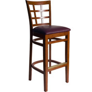 BFM Seating Pennington Cherry Wood Window Pane Bar Stool with Vinyl Seat [WB629CH-X-BFMS]