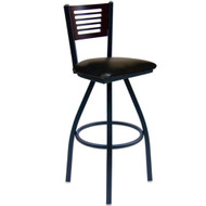 BFM Seating Espy Metal Slotted Wood Back Swivel Bar Stool with Vinyl Seat [2151SV-SB-BFMS]