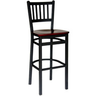 BFM Seating Troy Black Metal Slat Back Bar Stool with Wood Seat [2090B-SBW]