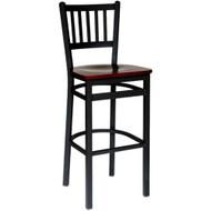 BFM Seating Troy Black Metal Slat Back Restaurant Bar Stools [2090B-SBW]