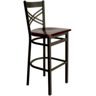 BFM Seating Akrin Black Metal Cross Back Restaurant Bar Stool with Wood Seat [2130B-SBW]