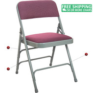 Advantage Grey Padded Metal Folding Chair - Burgundy 1-in Fabric Seat [DPI903F-GB]