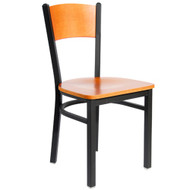 BFM Seating Dale Black Metal Solid Wood Back Restaurant Chair [2150C-SBW]