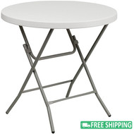 5-pack: Advantage 32 in. Round White Plastic Folding Table [ADV-32RLZ-WHITE-05]