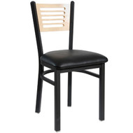 BFM Seating Espy Black Metal Slotted Wood Back Restaurant Chair - Padded Seat [2151CV-SB-BFMS]