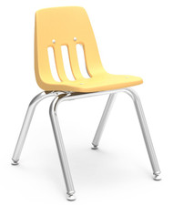 Virco 9000 Series Classroom Stack Chair with 14''H Seat and Chrome Frame [9014] - 4 Pack