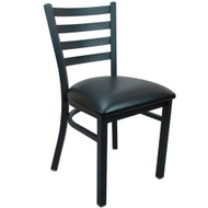 Advantage Black Metal Ladder Back Chair - Black Padded [BFDH-6147LADBK-TDR]